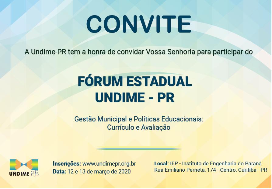 Convite: FÓRUM ESTADUAL UNDIME - PR 2020