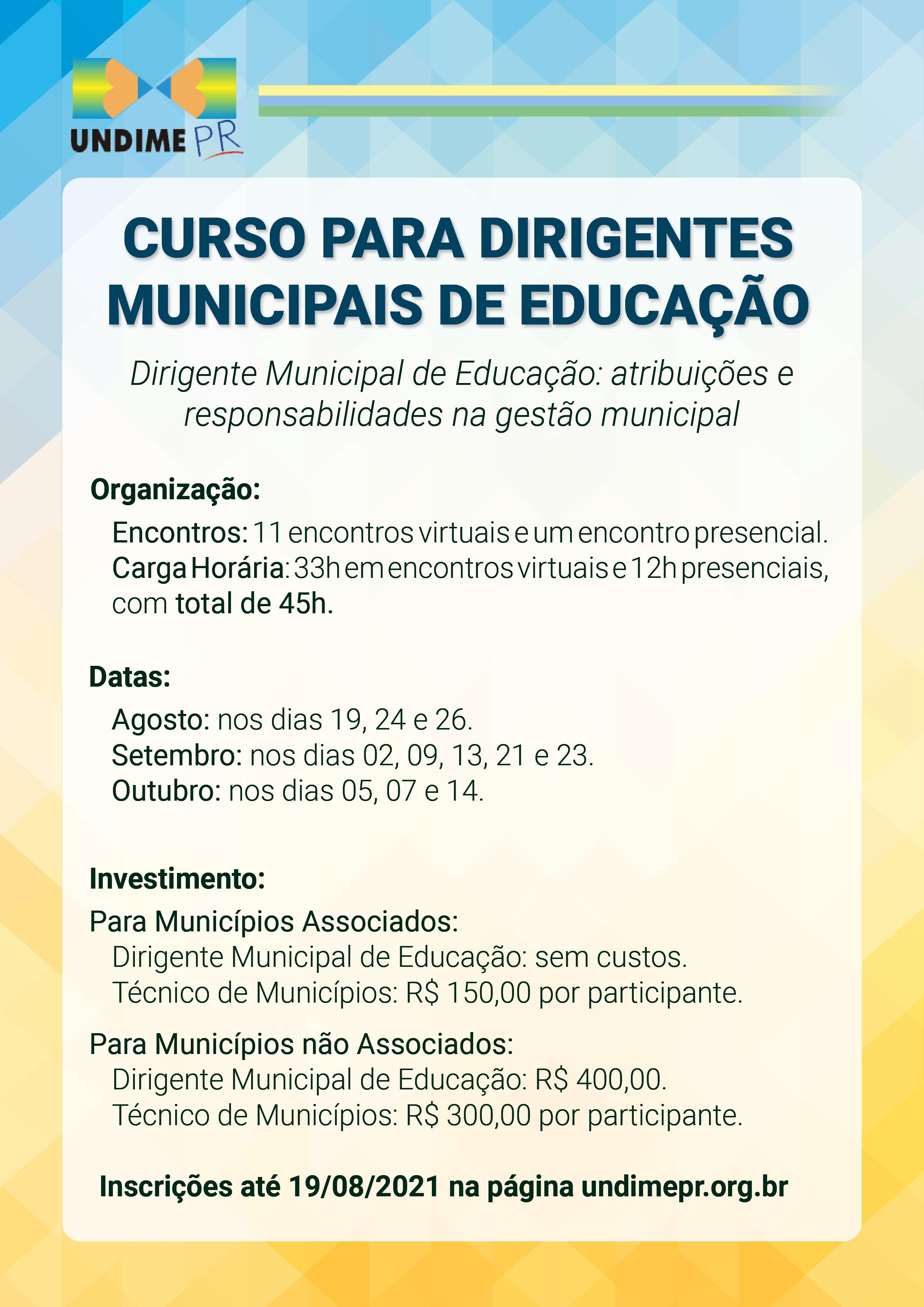 Abertas as inscrições para o Curso para Dirigentes Municipais de Educação ofertado pela UNDIME PR