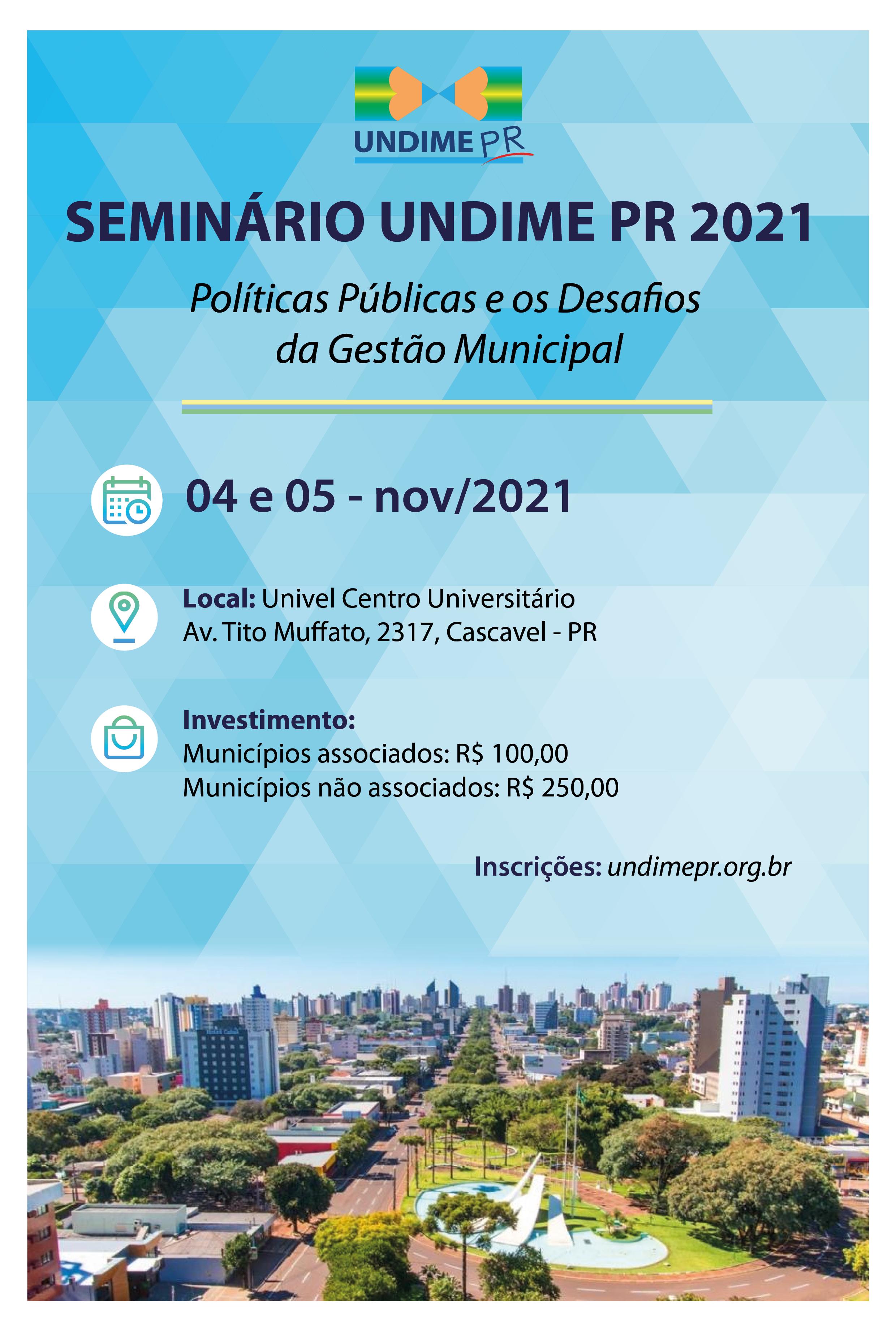 Abertas inscrições para o Seminário da Undime PR 2021