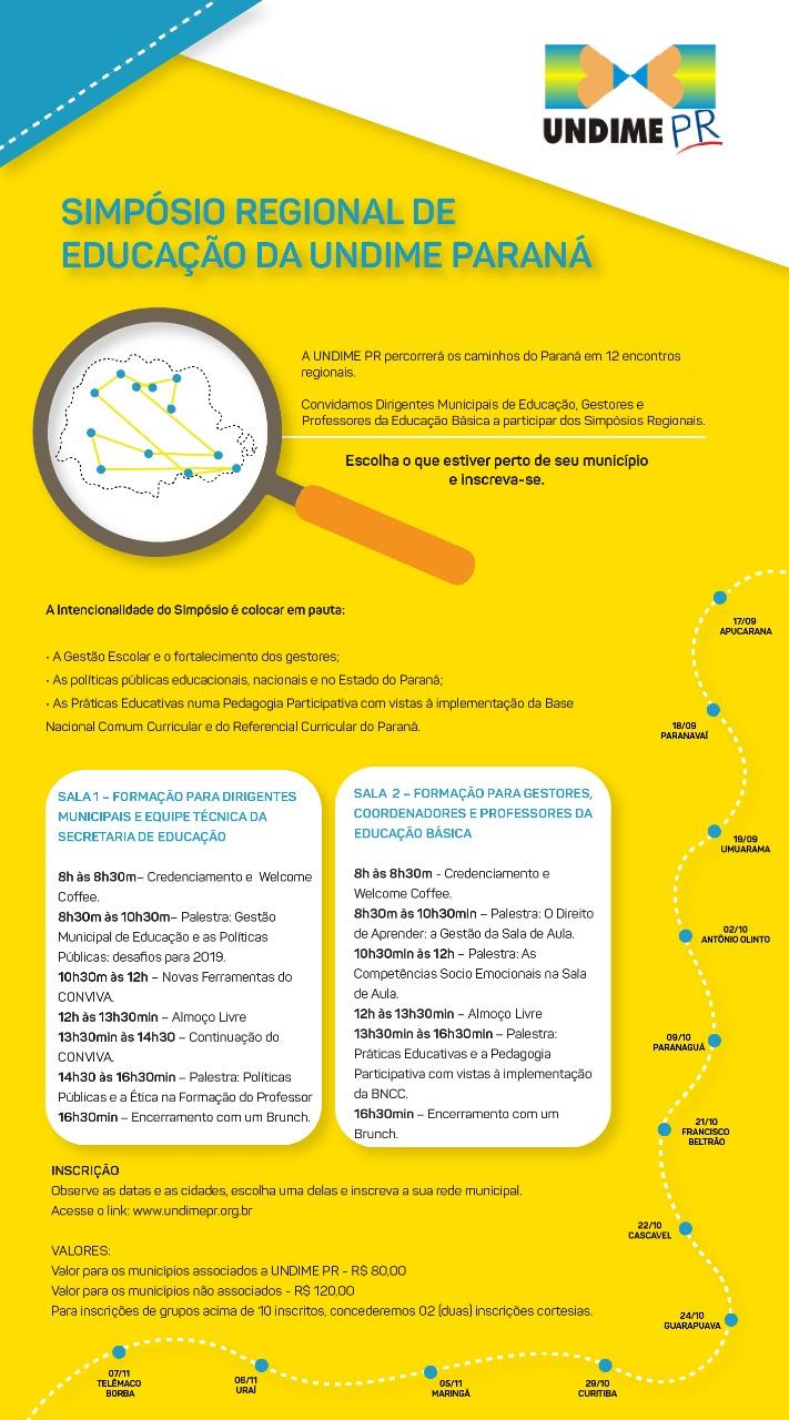 SIMPÓSIO REGIONAL DE EDUCAÇÃO DA UNDIME PARANÁ - INSCRIÇÕES ABERTAS