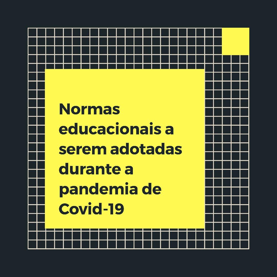 Normas educacionais a serem adotadas durante a pandemia de Covid-19
